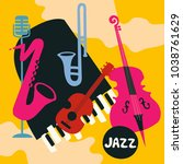 jazz music festival poster with ... | Shutterstock .eps vector #1038761629