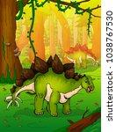 stegosaurus on the background... | Shutterstock .eps vector #1038767530