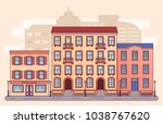 city street with houses. vector.... | Shutterstock .eps vector #1038767620