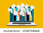 laptop with many hands holding... | Shutterstock .eps vector #1038768868
