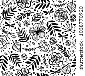 botanical seamless pattern with ... | Shutterstock .eps vector #1038770920