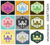 set of icons in flat style... | Shutterstock .eps vector #1038772654