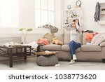 desperate helpless woman... | Shutterstock . vector #1038773620