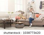 desperate helpless woman... | Shutterstock . vector #1038773620