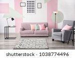 stylish living room interior... | Shutterstock . vector #1038774496