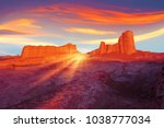 sunset in the desert of iran.... | Shutterstock . vector #1038777034