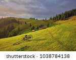 hay stack on the grassy meadow...   Shutterstock . vector #1038784138