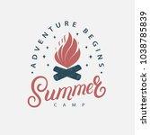 summer camp hand written... | Shutterstock .eps vector #1038785839