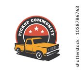 pick up truck car vector logo... | Shutterstock .eps vector #1038786763