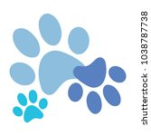 blue paws print vector | Shutterstock .eps vector #1038787738