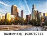 downtown los angeles  skyline... | Shutterstock . vector #1038787963