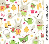 seamless pattern with elements... | Shutterstock .eps vector #1038790324