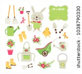 set with elements for gardening ... | Shutterstock .eps vector #1038790330