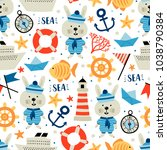seamless pattern with nautical... | Shutterstock .eps vector #1038790384