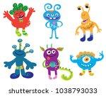 set of cartoon cute monsters ... | Shutterstock .eps vector #1038793033