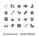 set of pet filled icons... | Shutterstock .eps vector #1038798100