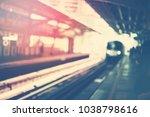 train arrival urban metro... | Shutterstock . vector #1038798616
