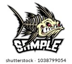 fish bone mascot for logo and t ... | Shutterstock .eps vector #1038799054