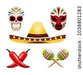 vector set of mexican symbols...   Shutterstock .eps vector #1038801283