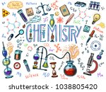 chemistry of icons set.... | Shutterstock .eps vector #1038805420