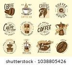 set of coffee logos. modern...   Shutterstock .eps vector #1038805426