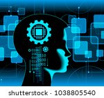 neural network. deep learning.... | Shutterstock .eps vector #1038805540