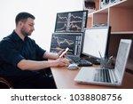 stockbroker in shirt is working ... | Shutterstock . vector #1038808756
