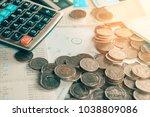 coins deadline calendar saving... | Shutterstock . vector #1038809086