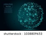 abstract mash line and point...   Shutterstock .eps vector #1038809653