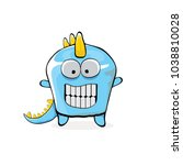 vector funny cartoon cute blue... | Shutterstock .eps vector #1038810028