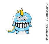 vector funny cartoon cute blue... | Shutterstock .eps vector #1038810040