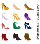 set of high heels fashion girl... | Shutterstock .eps vector #103881290