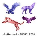 low poly vector wild animals... | Shutterstock .eps vector #1038817216