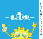 hello summer rock n roll vector ... | Shutterstock .eps vector #1038817489