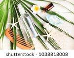 summer beauty care kit. bottle... | Shutterstock . vector #1038818008