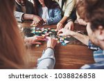 group of creative friends... | Shutterstock . vector #1038826858