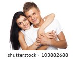 happy young couple in casual...   Shutterstock . vector #103882688