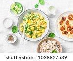 vegetarian chickpea  spinach ... | Shutterstock . vector #1038827539