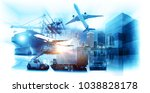 world map with logistic network ... | Shutterstock . vector #1038828178