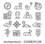navigation and map line icons... | Shutterstock . vector #1038829138