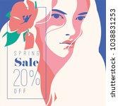 spring sale banner  sale poster ... | Shutterstock .eps vector #1038831253