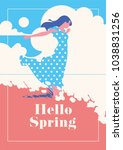 hello spring romantic poster. | Shutterstock .eps vector #1038831256