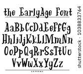 hand drawn vector alphabet.... | Shutterstock .eps vector #1038833764
