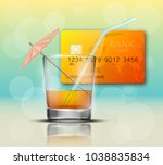 credit card   glass cold drink... | Shutterstock .eps vector #1038835834
