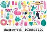 set of stylish summer elements  ... | Shutterstock .eps vector #1038838120