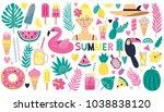 set of stylish summer elements  ... | Shutterstock .eps vector #1038838120