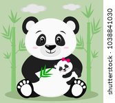 a sweet panda sits and holds a... | Shutterstock . vector #1038841030