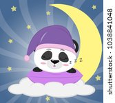sweet panda in a violet hat for ... | Shutterstock . vector #1038841048