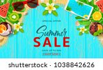 summer sale promo web banner.... | Shutterstock .eps vector #1038842626