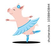 pig dancing on a white... | Shutterstock .eps vector #1038843844